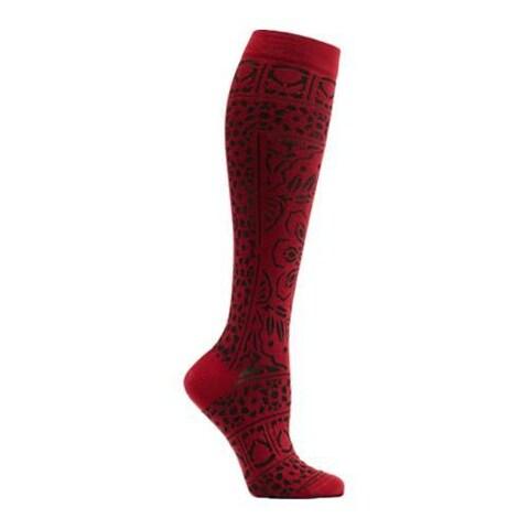 Women's Ozone Floral Mosaic Knee High Socks Red