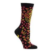 Women's Ozone Turkish Flower Crew Socks (2 Pairs) Black