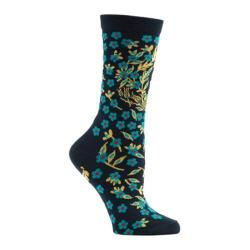 Women's Ozone Turkish Flower Crew Socks (2 Pairs) Navy