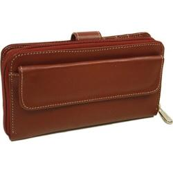 Piel Leather Multi-Compartment Wallet 2861 Red Leather
