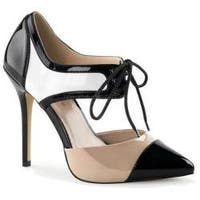 Women's Pleaser Amuse 30 Black/White/Nude Patent
