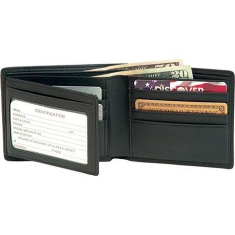 Men's Royce Leather RFID Blocking Bi-Fold with Double ID Flap 110-5 Black