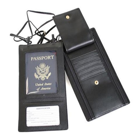 Royce Leather Security Passport Wallet 217-6 Black Leather