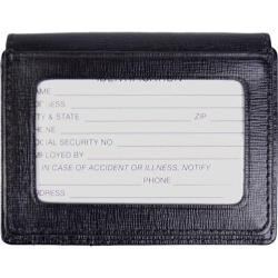 Men's Royce Leather Saffiano Cowhide Money Clip ID Wallet Black