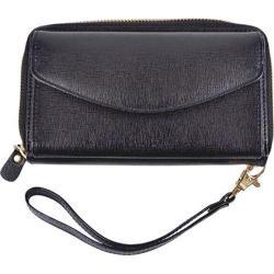 Women's Royce Leather Saffiano Slim Cellphone Wallet Black