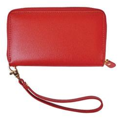 Women's Royce Leather Saffiano Slim Cellphone Wallet Red