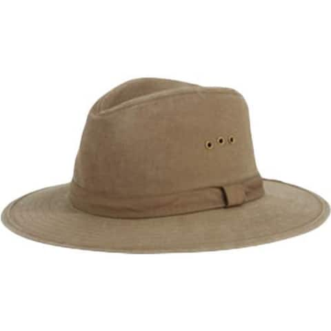 Men's San Diego Hat Company Distressed Canvas Fedora CTH3732 Olive