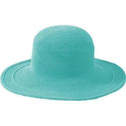 Women's San Diego Hat Company Cotton Crochet Hat Large Brim CHL5 Aquamarine
