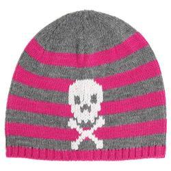 Children's San Diego Hat Company Knit Stripe Skull Beanie KNK3350 Pink