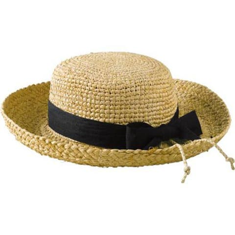 Women's San Diego Hat Company Raffia Hat Crochet Crown RHL9 Natural/Black Ribbon