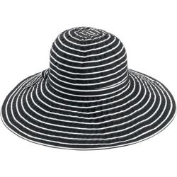 Women's San Diego Hat Company Ribbon Braid Large Brim Hat RBL207 Black/White