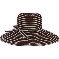 Women's San Diego Hat Company Ribbon Braid Large Brim Hat RBL207 Brown/White