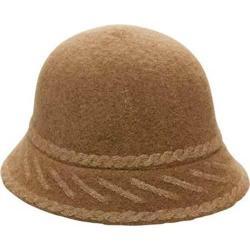 Women's San Diego Hat Company Wool Pattern Brim Cloche WFH7894 Camel