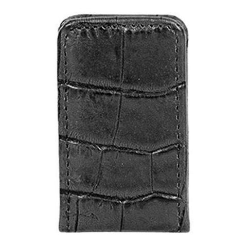Men's Scully Leather Magnetized Money Clip Croco 2009 Black