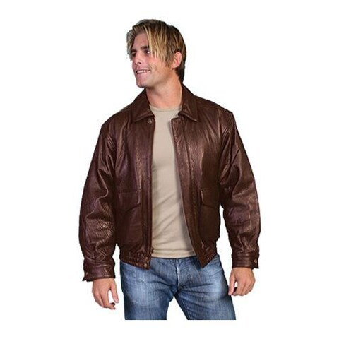 Men's Scully Leather Rugged Lamb Jacket 907 Tall Dark Brown Rugged Lamb