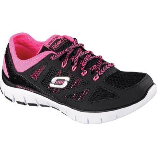 8509fd62def1 Shop Women s Skechers Relaxed Fit Skech Flex Royal Forward Black Pink -  Free Shipping Today - Overstock.com - 9716209