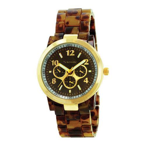 Women's Vernier V11031 Round Bracelet Fashion Watch Brown Plastic/Brown