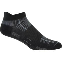 Wrightsock DL Stride Tab (2 Pairs) Black/Grey Stripe
