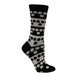 Women's Ozone Big Dots Crew Sock (2 Pairs) Black