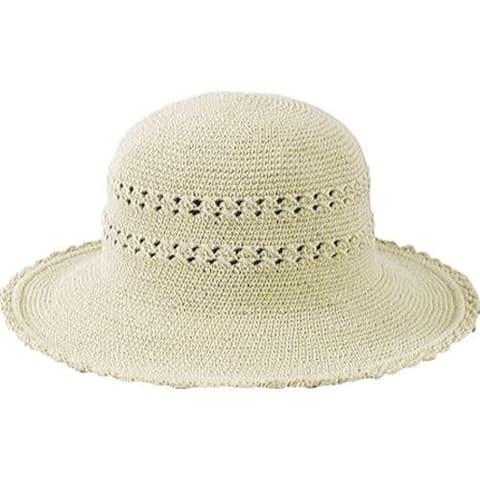Women's San Diego Hat Company Cotton Crochet Hat Medium Brim CHM4 Natural