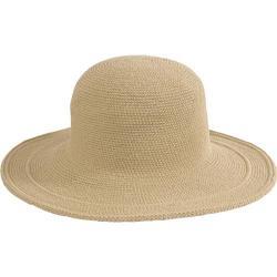 Women's San Diego Hat Company Cotton Crochet Hat Large Brim CHL5 Tan