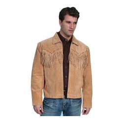 Men's Scully Leather Boar Suede Fringe Jacket 221 Bourbon Boar Suede