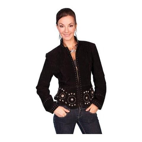 Women's Scully Leather Boar Suede Jacket L191 Black Boar Suede