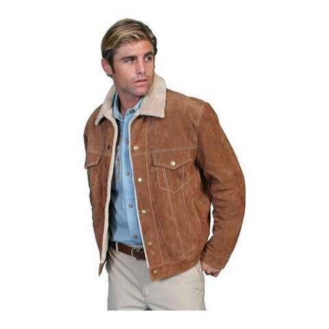 Men's Scully Leather Boar Suede Jean Jacket 113 Cafe Brown