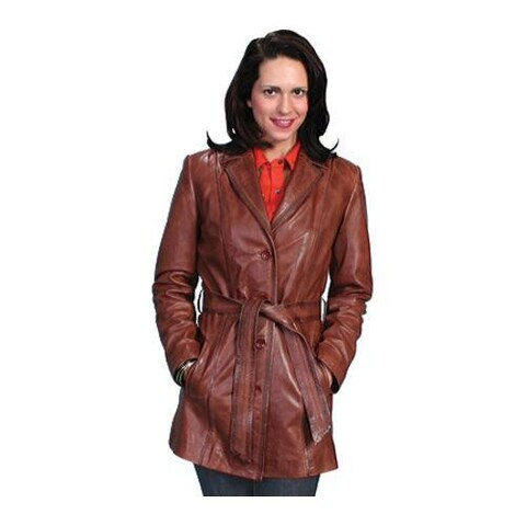 Women's Scully Leather Classic Style Knee Length Coat L51 Antique Brown