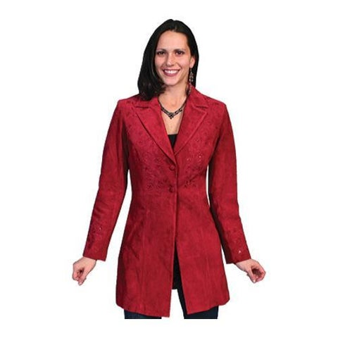 Women's Scully Leather Floral Embroidered Mid-Thigh Length Coat L231 Red Boar Suede