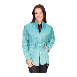 Women's Scully Leather Boar Suede Fringe Jacket L9 Turquoise