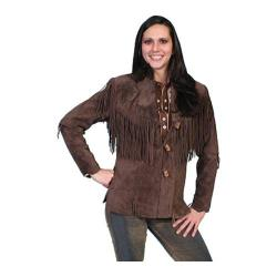 Women's Scully Leather Boar Suede Fringe Jacket L9 Tall Chocolate