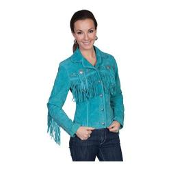 Women's Scully Leather Boar Suede Jacket L152 Turquoise