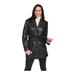 Women's Scully Leather Classic Style Knee Length Coat L51 Black