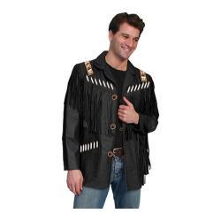 Men's Scully Leather Fringe Leather Jacket 902 Long Black Boar Suede