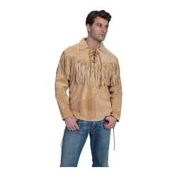 Men's Scully Leather Fringe Leather Trapper Shirt 5 Bourbon Boar Suede