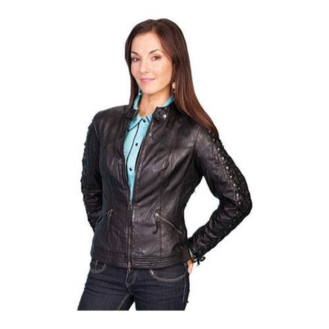 Women's Scully Leather Lamb Skin Jacket L411 Black Lamb
