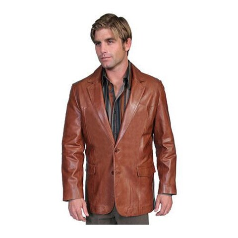 Men's Scully Leather Lambskin Blazer 501 Antique Brown