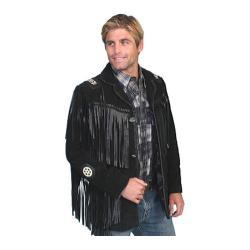 Men's Scully Leather Handlaced Bead Trim Coat 758 Black Boar Suede