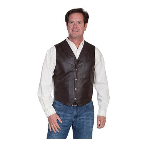 Men's Scully Leather Lambskin Lapel Vest 509 Brown Soft Touch Lamb