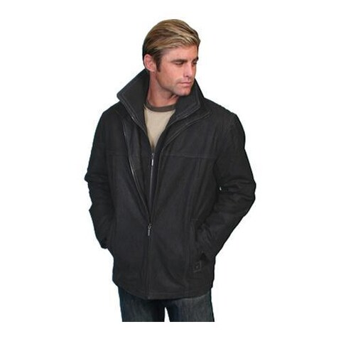 Men's Scully Leather Leather Car Coat w/ Knit Front & Collar 305 Vintage Black