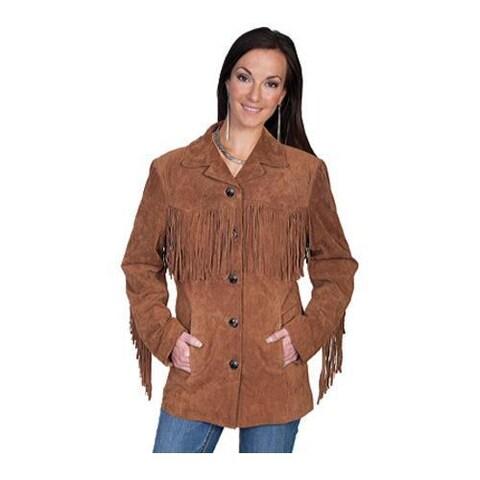 Women's Scully Leather Suede Fringe Jacket L74 Cinnamon Boar Suede