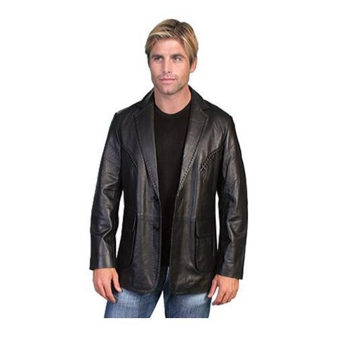 Men's Scully Leather Whip Stitch Blazer 719 Black Lamb