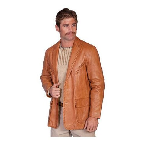 Men's Scully Leather Whip Stitch Blazer 719 Ranch Tan