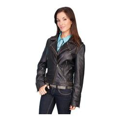 Women's Scully Leather Soft Lamb Motorcycle Jacket L189 Black Lamb