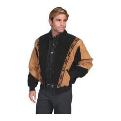 Men's Scully Leather Two-Toned Boar Suede Rodeo Jacket 62 Black W/Cafe Brown Trim Boar Suede