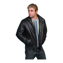 Men's Scully Leather Zip Front Leather Jacket 977 Black Grain Calf