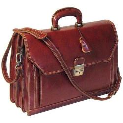 Alberto Bellucci Capri Flap Over Briefcase Brown