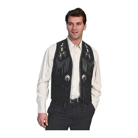 Men's Scully Leather Handlaced Bead Trim Vest 755 Black Boar Suede