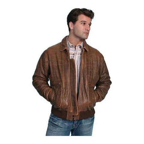 Men's Scully Leather Lambskin Bomber Jacket 714 Brown Antique Lamb
